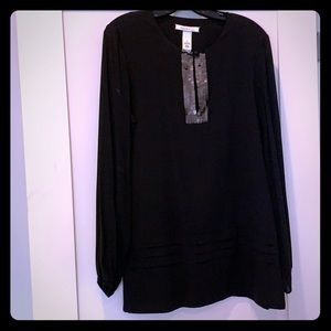 Black Laundry top w collar embellishments